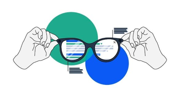 Visual search graphic featuring a pair of hands holding a pair of smart glasses, against two coloured circles, one blue and one green.