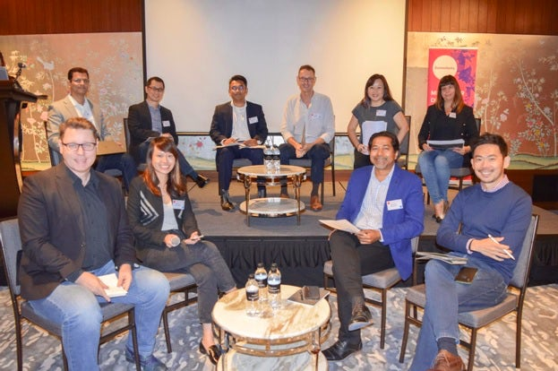 A photograph of the organisers and sponsors behind the Digital Cream agile marketing rountable in Singapore.