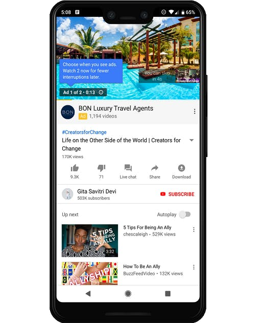 Image of a mobile phone displaying a video ad for BON Luxury Travel agents.