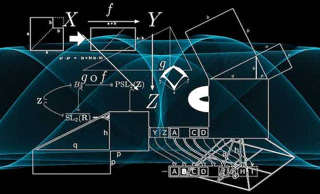 Graphic with equations, angles and shapes against a background with blue wavy lines