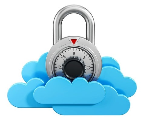 Graphic of a padlock sitting on top of some clouds