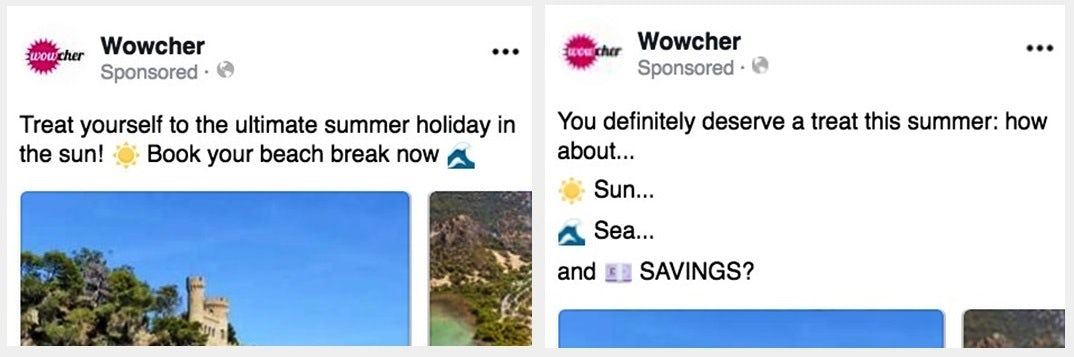 Two side-by-side screenshots of Facebook ad copy, both of which use emoji and sound extremely similar.