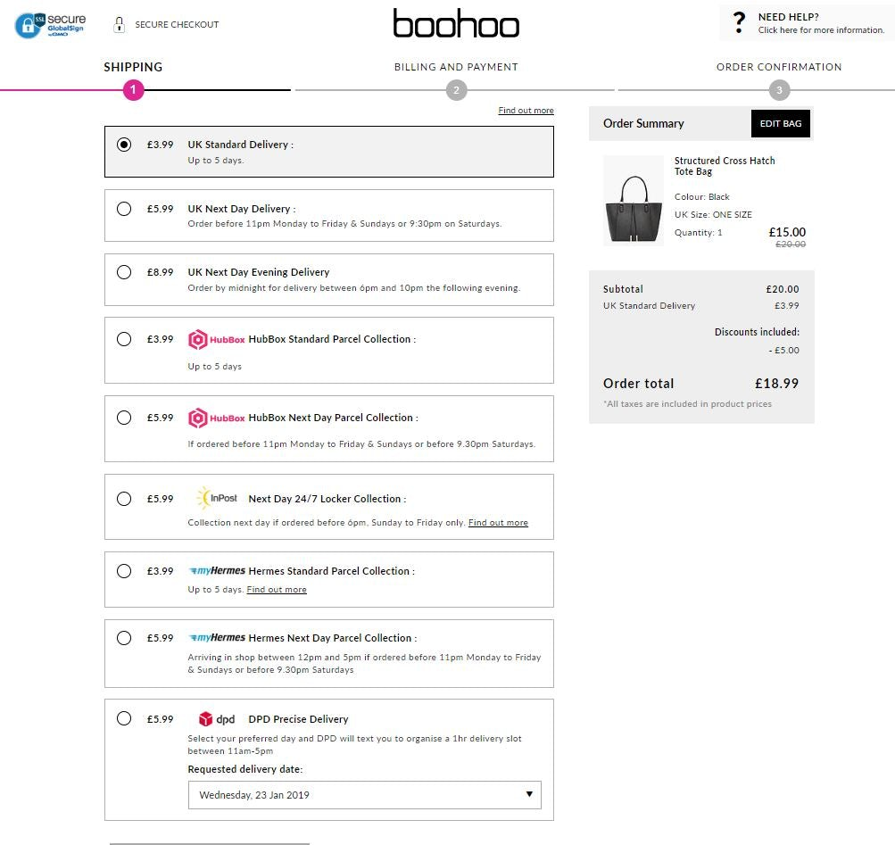 Boohoo delivery options