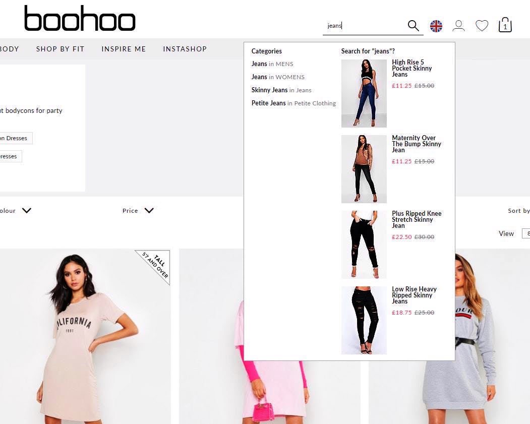 visual search results boohoo