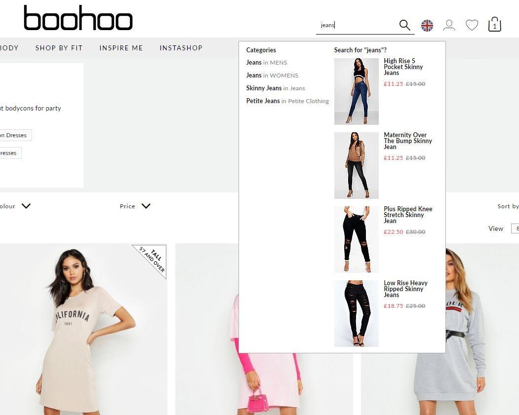 visual search results boohoo