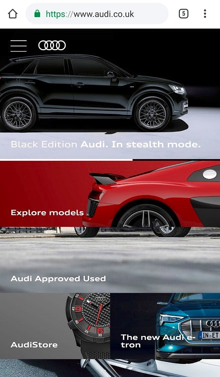 Screenshot of the audi.co.uk mobile site