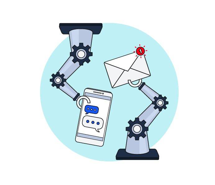 Illustration depicting marketing automation with two robot arms: one holding a smartphone, the other holding an email.