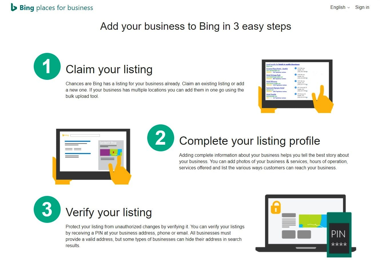 Screenshot of the Bing Places for Business homepage explaining how to add your business to Bing.