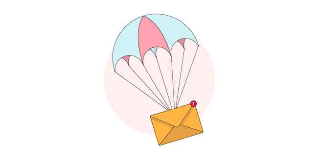 Illustration of an email attached to a parachute