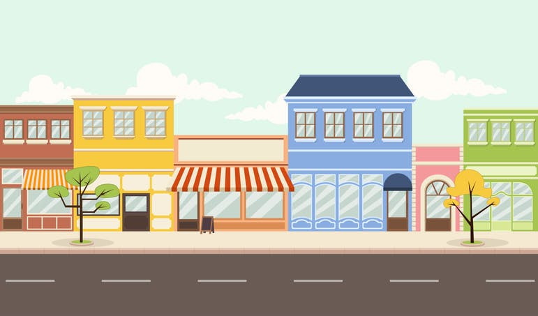 Colourful illustration depicting stores and buildings of different sizes by the side of a road