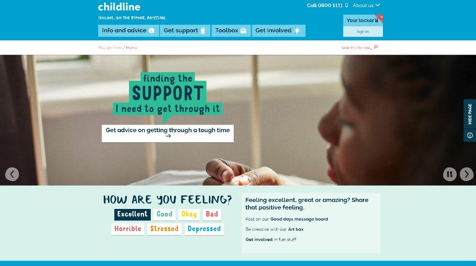 14 Childline homepage