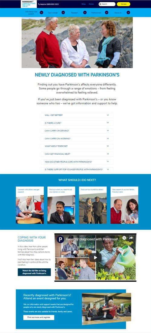 20 Parkinsons UK landing page