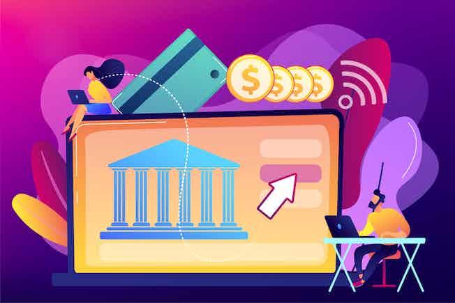 Open banking vector graphic