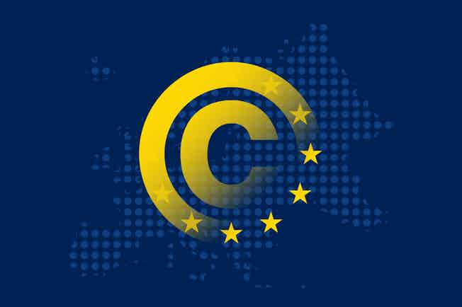 A yellow copyright symbol, half faded. The bottom right half is replaced with EU stars. The symbol is superimposed on a dark blue outline of Europe.
