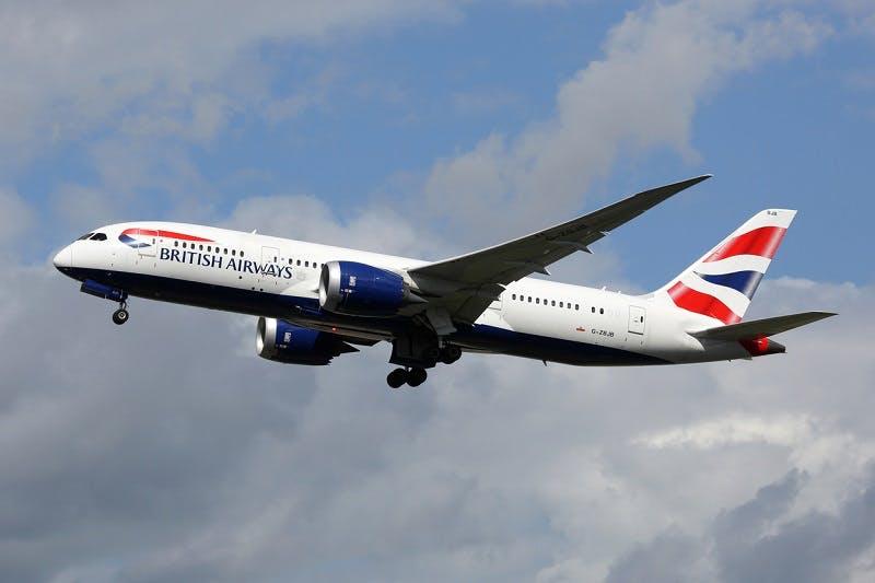 A British Airways plane flying through the air