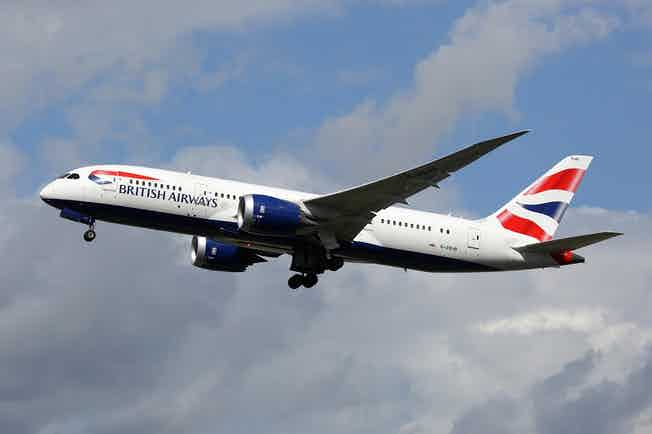 A British Airways plane flying through the air