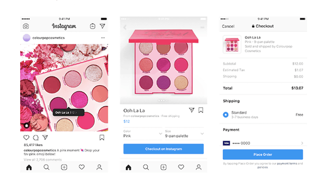 Figure 1: Instagram Checkout has launched with a small number of brands in the US, including this good example from ColourPop Cosmetics