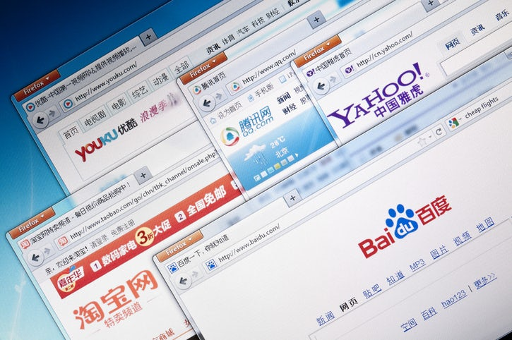 Selection of the most visited Chinese web sites on a computer screen, Including: Youku, Yahoo China, Baidu, QQ, and Taobao.