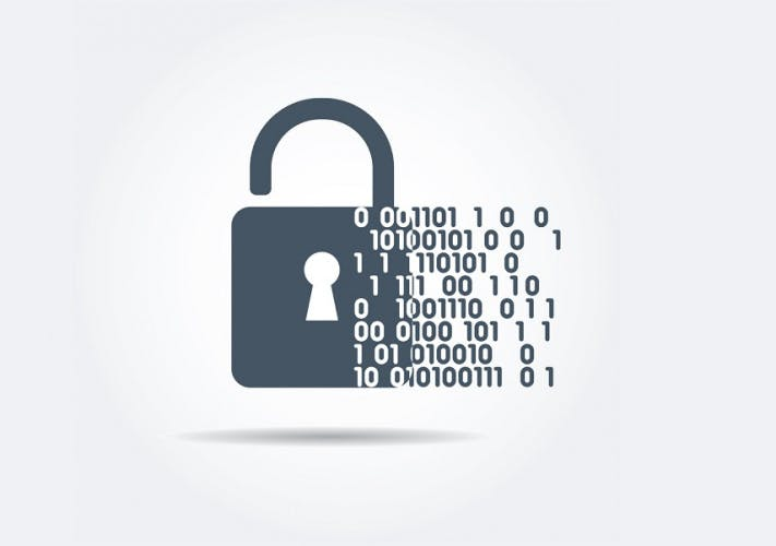 A vector illustration of a padlock with binary data code.