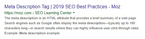 A search result from Moz with meta description