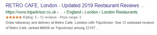 A rich search result for Retro Café London