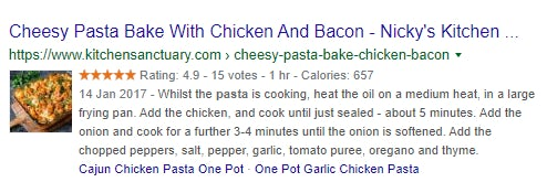 A rich search result for a cheesy pasta bake with chicken and bacon from Nicky's Kitchen