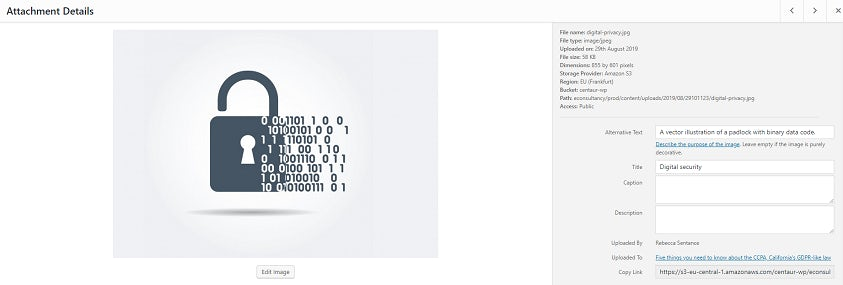 A WordPress upload form for a vector graphic of a padlock with binary code. The title and alt text fields are filled in