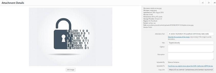 نموذج تحميل WordPress للرسم المتجه لقفل برمز ثنائي.  يتم ملء حقول العنوان والنص البديل