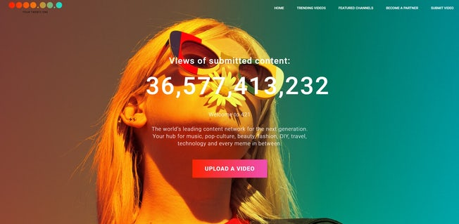 The homepage of 421 media, with a climbing view counter overlaid on a picture of a woman in sunglasses.