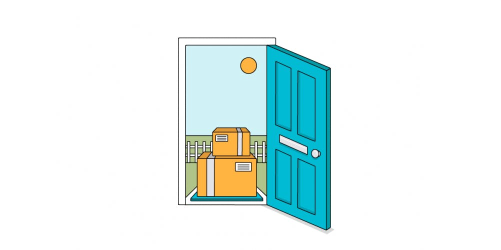 ecommerce delivery at door illustration