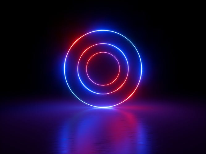 3d render, glowing rings, round lines, tunnel, neon lights, abstract background, circles, red blue spectrum, virtual reality, vibrant colors, laser show
