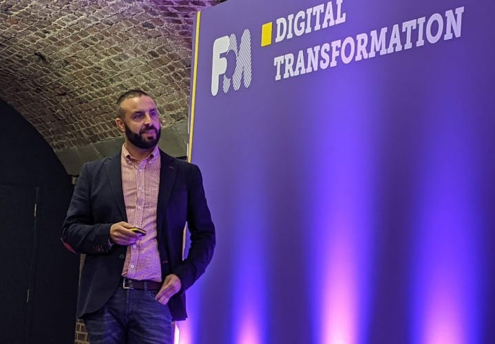 Saul Lopes stands on the Digital Transformation stage at the Festival of Marketing 2019