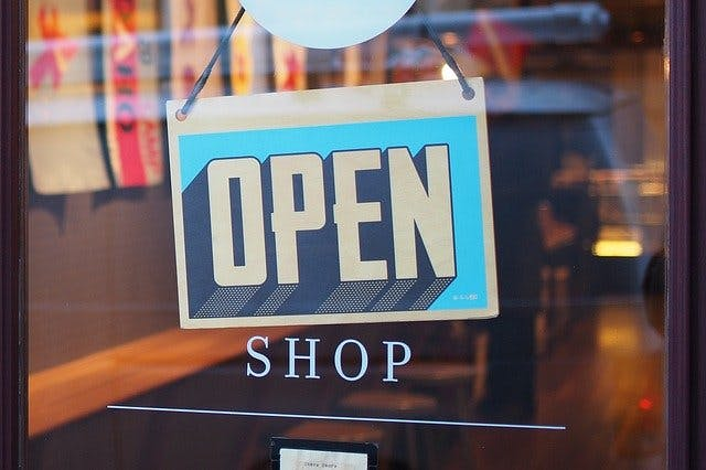open sign in store