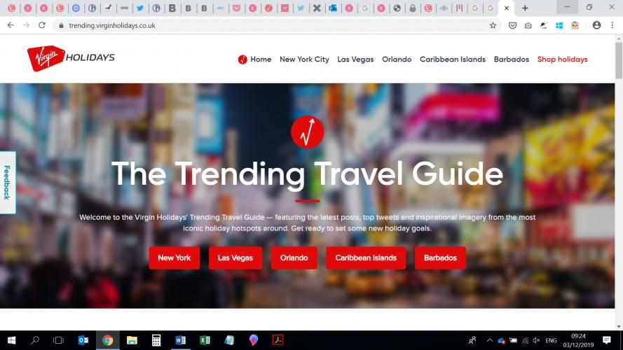 Virgin Holidays Trending Travel Guide screenshot