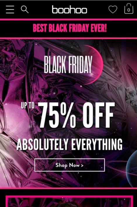 boohoo black friday homepage