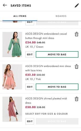 asos saved items