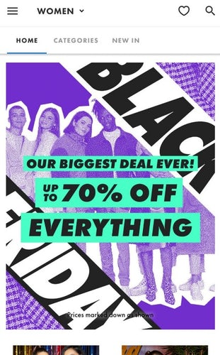 page d'accueil asos black friday