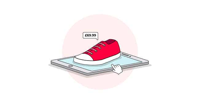 shoe on tablet