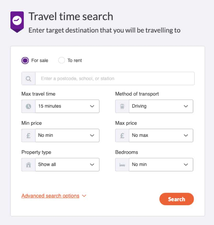 zoopla travel time search