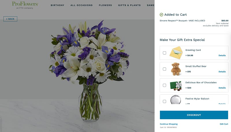 Pro Flowers extra items
