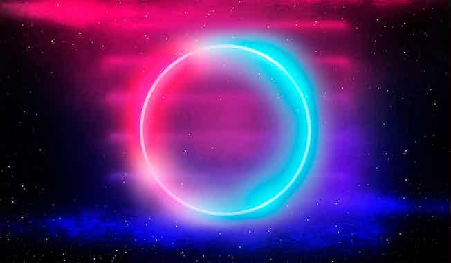 glowing neon circle in pink and cyan