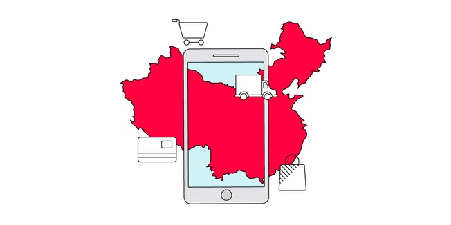 Illustration of a smartphone superimposed on an outline of China, with shopping cart, credit card, delivery lorry and shopping bag icons around it.
