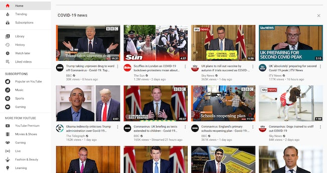 YouTube - covid-19 news page