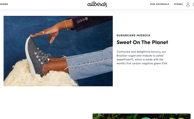 allbirds product pages