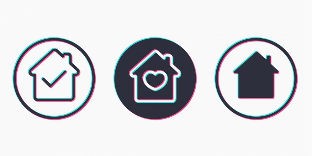 social media home icons in tiktok style