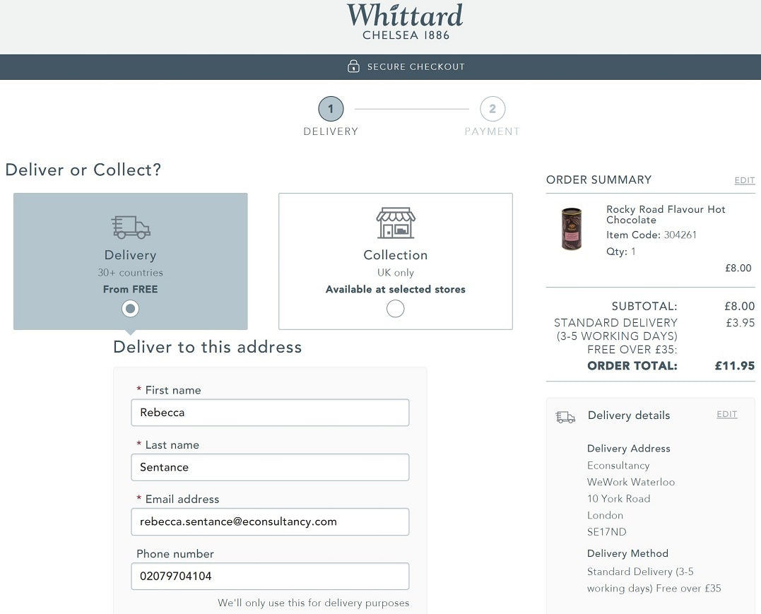 Seven excellent examples of ecommerce checkout best practice – Econsultancy 6