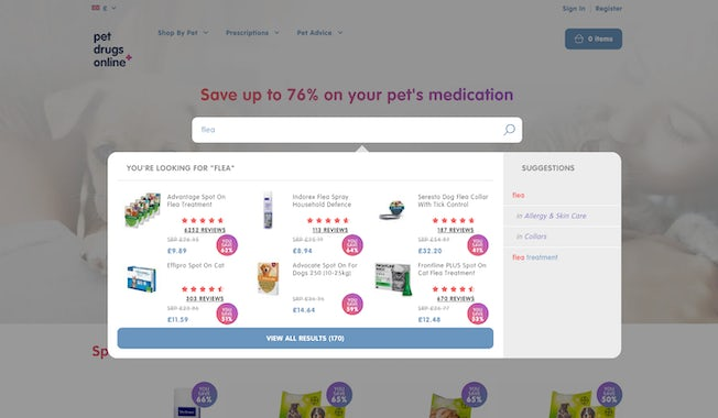 Pet Drugs Online dynamic search bar