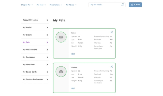 Pet Drugs Online pet profiles