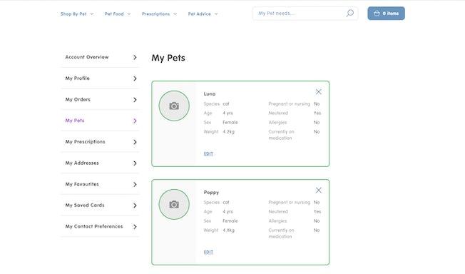 Pet Drugs Online pet profiles
