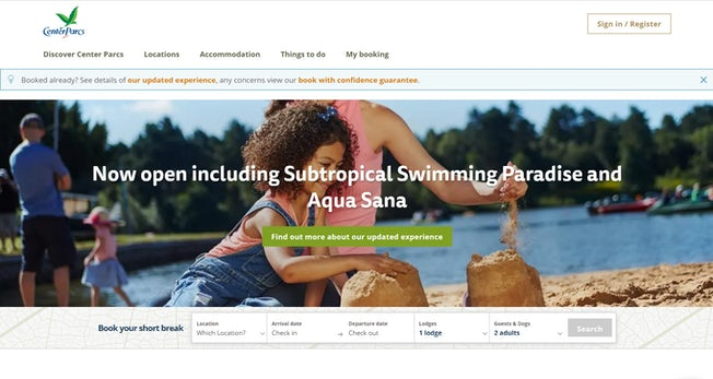 Center Parcs homepage
